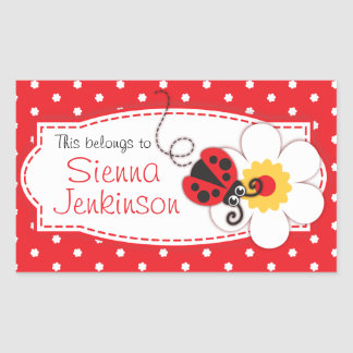 kids ladybug book plate or id name label sticker
