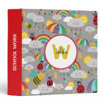 Kids Ladybug Bumblebee Rainbows Personalized 3 Ring Binder