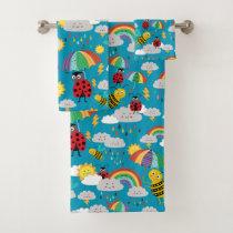 Kids Ladybug Bumblebee Rainbows Personalized Bath Towel Set
