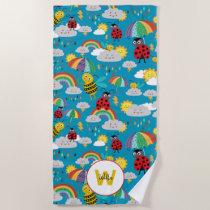 Kids Ladybug Bumblebee Rainbows Personalized Beach Towel