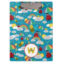 Kids Ladybug Bumblebee Rainbows Personalized Clipboard