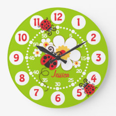 Kids Ladybug & Flower Cute Green Girls Wall Clock at Zazzle