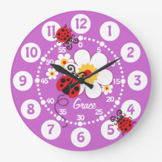 Kids Ladybug & Flower Cute Purple Girls Wall Clock at Zazzle