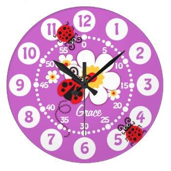 Kids Ladybug & Flower Cute Purple Girls Wall Clock by Mylittleeden at Zazzle