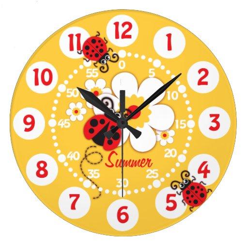 Kids ladybug & flower cute yellow girls wall clock