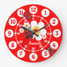 Kids ladybug & flowers bright red wall clock at Zazzle