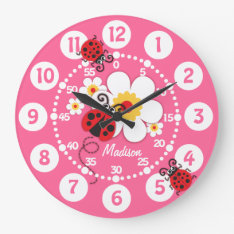 Kids Ladybug & Flowers Cute Pink Girls Wall Clock at Zazzle