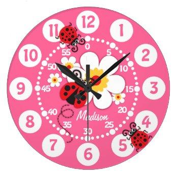 Kids Ladybug & Flowers Cute Pink Girls Wall Clock by Mylittleeden at Zazzle