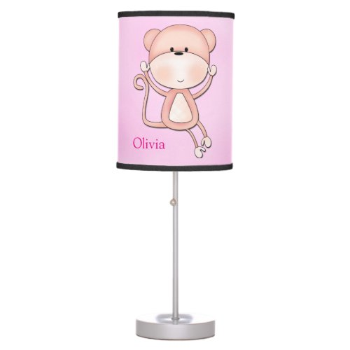 Kid's Lamp Cute Pink Monkey