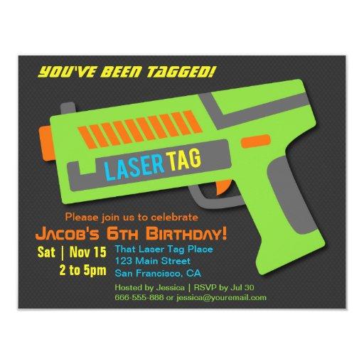 Kids Laser Tag Birthday Party Invitations | Zazzle