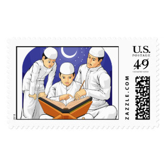 Kids Learn to Read Al-Quran with Their Parent Postage Stamp