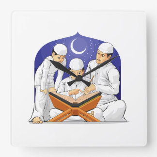 Kids Learn to Read Al-Quran with Their Parent Square Wall Clock