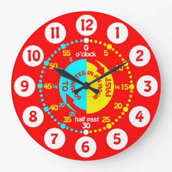 Kids Learn To Tell Time Bright Red Wall Clock by Mylittleeden at Zazzle