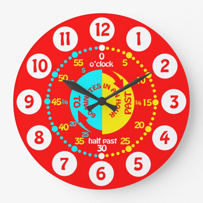 Kids Learn To Tell Time Bright Red Wall Clock Zazzle Com