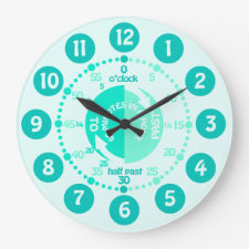 Kids learn to tell time green mint aqua wall clock