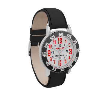 Kids' Learn to Tell Time Watch - Black & Red