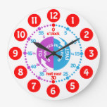 Kids learn to tell time white red purple clock