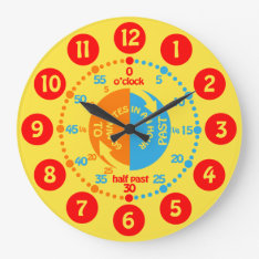 Kids learn to tell time yellow red blue wall clock at Zazzle