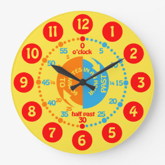 Kids learn to tell time yellow red blue wall clock. Kids Bedroom Wall Clocks   Zazzle