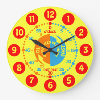 Kids learn to tell time yellow red wall clock