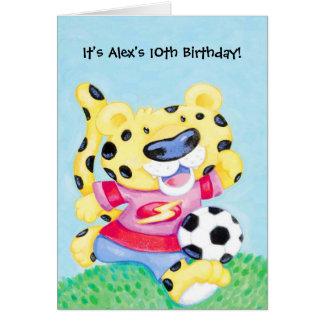 Kids leopard soccer customizable invitations