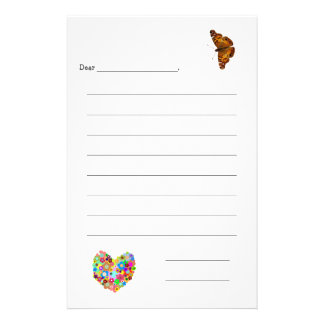 Kid's Lined Note Paper Stationery