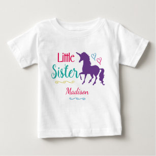 Kids Little Sister Unicorn Pretty Colorful Sisters Baby T-Shirt
