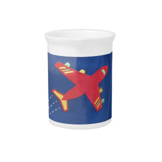 Kids Love Aeroplane Aircraft Flight Travel Holiday Beverage Pitcher