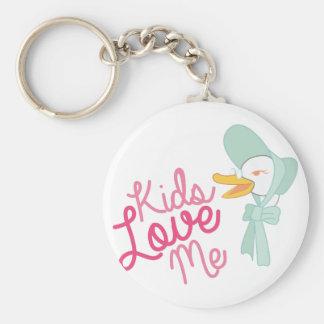 Kids Love Me Basic Round Button Keychain