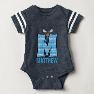 "Kids ""M"" Monogrammed | Blue Knit Moose Shirt"