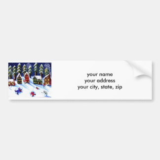 Kids Make Snow Angels Holiday Folk Art Bumper Sticker