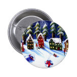 Kids Make Snow Angels Holiday Folk Art Pinback Button