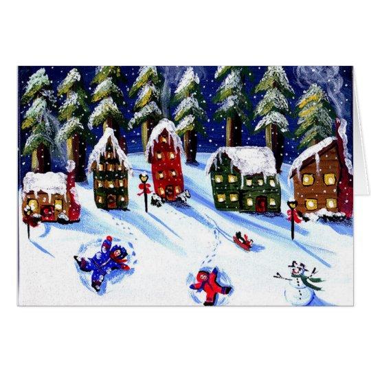 Kids Make Snow Angels Holiday Folk Art Card