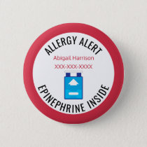 Kids Medical Alert Allergy Epinephrine Inside Pinback Button