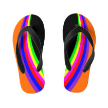 Kids Modern Geometric Rainbow Color Stripe Orange Kid's Flip Flops
