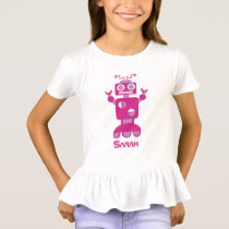 Kids Modern Pink Purple Robot Personalized Girls T-Shirt