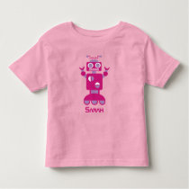 Kids Modern Pink Purple Robot Personalized Girls Toddler T-shirt