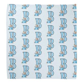Kid's Monogram B for Teddy Bear in Blue Checks Bandana