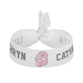 """Kid's Monogrammed """"C"""" Pink Cat Hair Tie"""