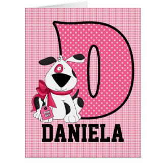 "Kid's Monogrammed ""D"" Pink Dog Large Greeting Card"
