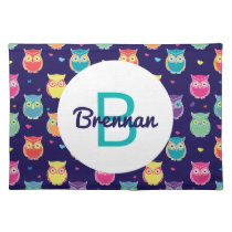 Kids Monogrammed Midnight Owl Pattern Colorful Cloth Placemat
