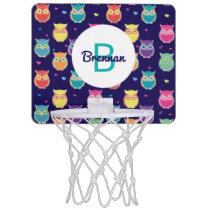 Kids Monogrammed Midnight Owl Pattern Colorful Mini Basketball Backboard