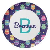 Kids Monogrammed Midnight Owl Pattern Colorful Plate