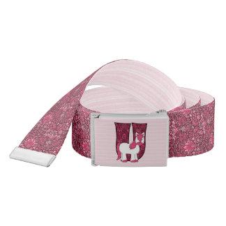 """Kid's Monogrammed """"U"""" Pink Unicorn   Vintage Print Belt"""