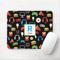 Kids Monogrammed Video Game Party Pattern Gamer Mouse Pad