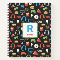 Kids Monogrammed Video Game Party Pattern Gamer Notebook