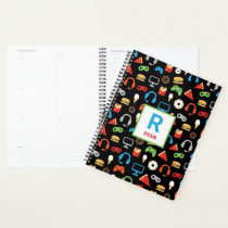 Kids Monogrammed Video Game Party Pattern Gamer Planner