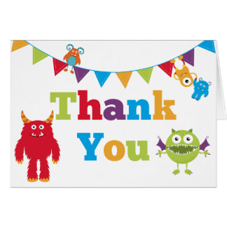 kids monster birthday thank you cards