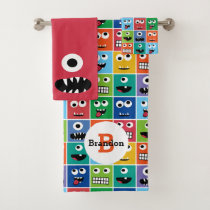 Kids Monster Face Pattern Colorful Monogram Boys Bath Towel Set