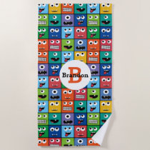 Kids Monster Face Pattern Colorful Monogram Boys Beach Towel